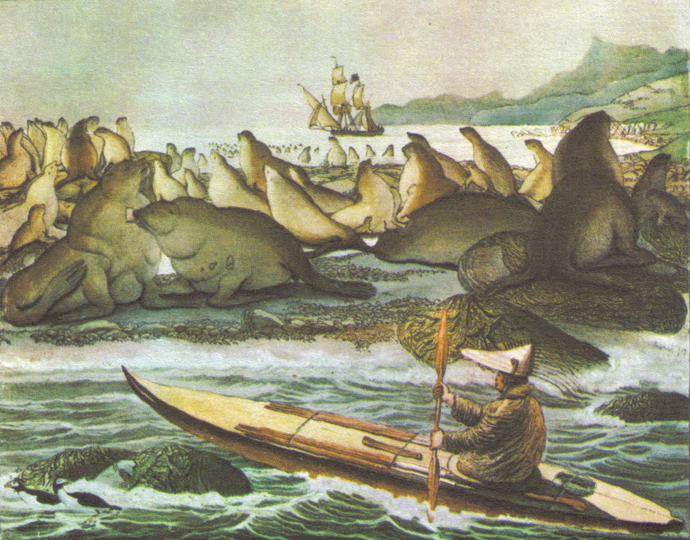 Artist Louis Choris accompanied the Kotzebue expedition on the Rurik, the ship shown in the background. This image of an A'lutik hunter off St. Paul's Island in the Bering Sea shows a (foreshortened) kayak. The Russians both coerced and hired them to hunt otters for their pelts, which the A'lutik did so efficiently that nearly the entire otter population of California was destroyed. Many hunters at Fort Ross drowned..