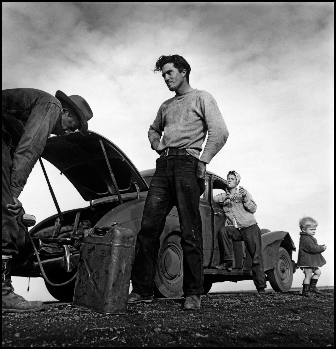 Migrant Worker with Stopped Car