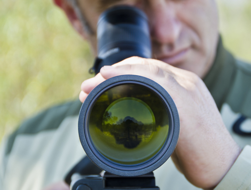 DNR officer looking for poachers through scope