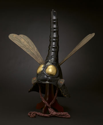 Helmet in dragonfly shape, 17th century, iron, lacquer, wood, leather, gilt pigments, silk, papier-mâché. Minneapolis Institute of Art. The James Ford Bell Foundation Endowment for Art Acquisition and gift of funds from Siri and Bob Marshall 2012.31.1a-c.