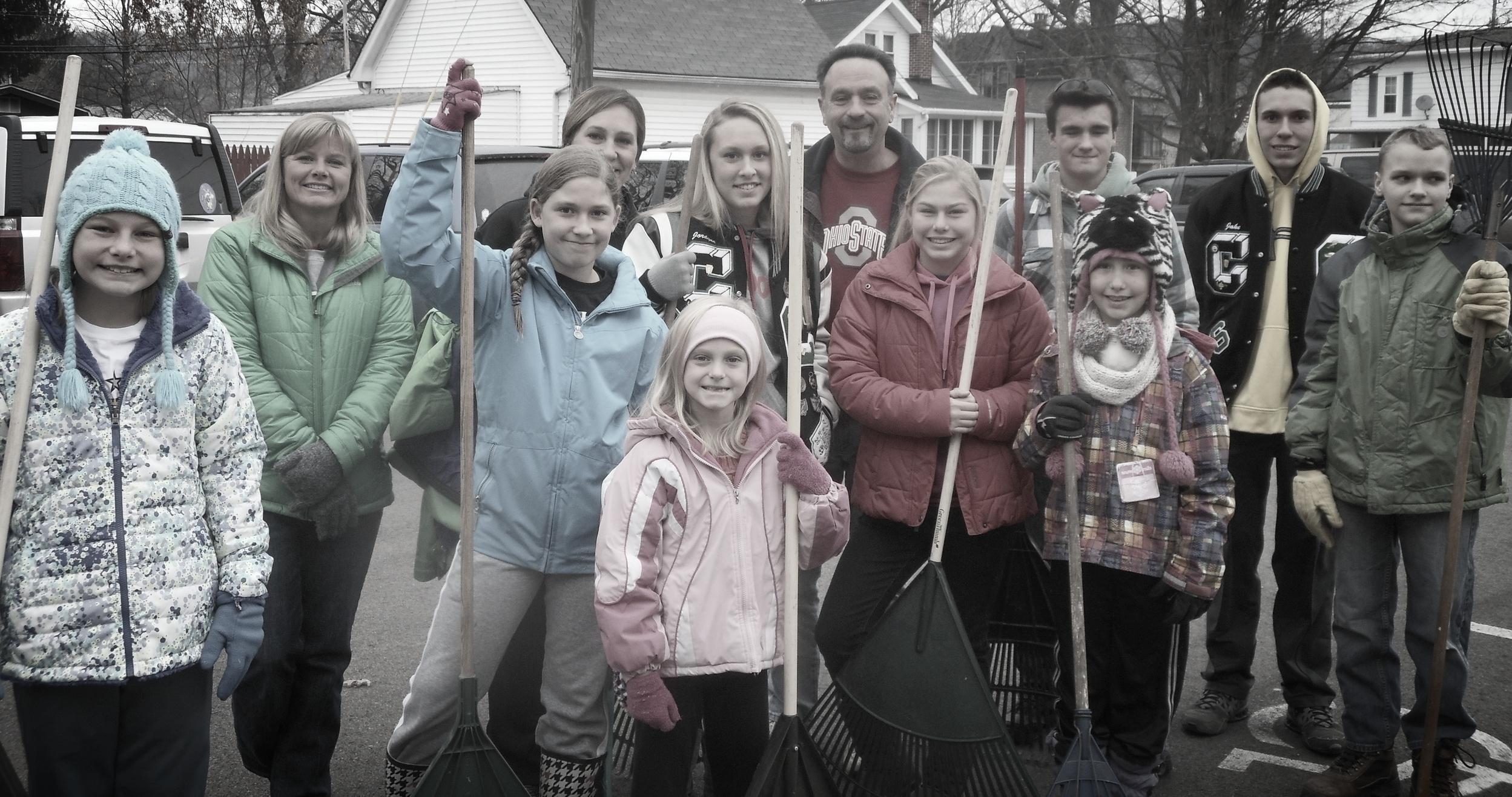 Neighborhood leaf-raking by the youth of Saint Paul Lutheran Church