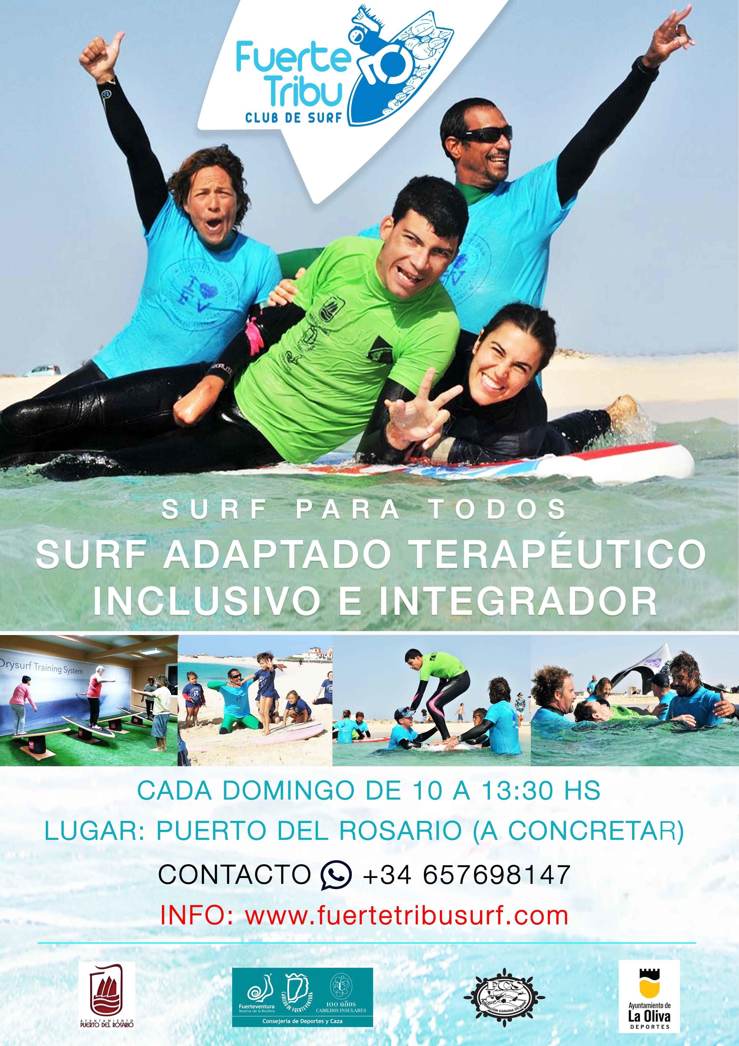 SURF PARA NIÑOS, SURF ADAPTADO, SURF TERAPEUTICO, SURF FUERTEVENTURA, CLUB DE SURF FUERTE TRIBU, CAMPAMENTO DE SURF,