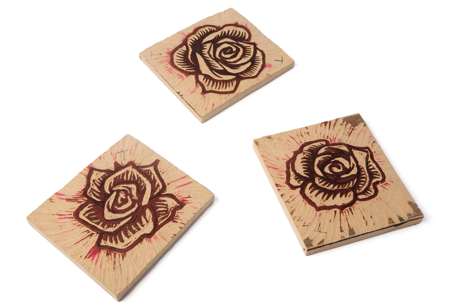 "2012 Woodcuts (MDF) Each approximately 6"" x 4"""