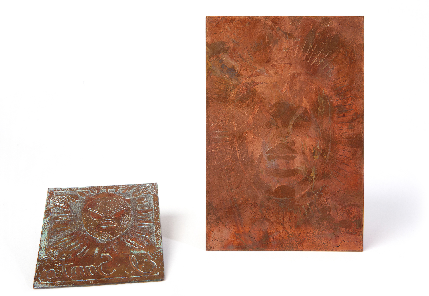 "2011 Etched relief plate (left) 4"" x 3""  2011 Etched intaglio plate (right) 6"" x 4"""