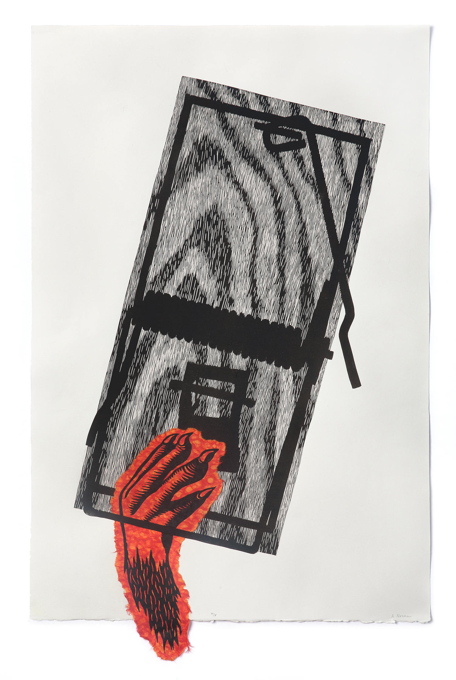 "No, not that one  2014 Linocut, chine collé 29"" x 18.25"""