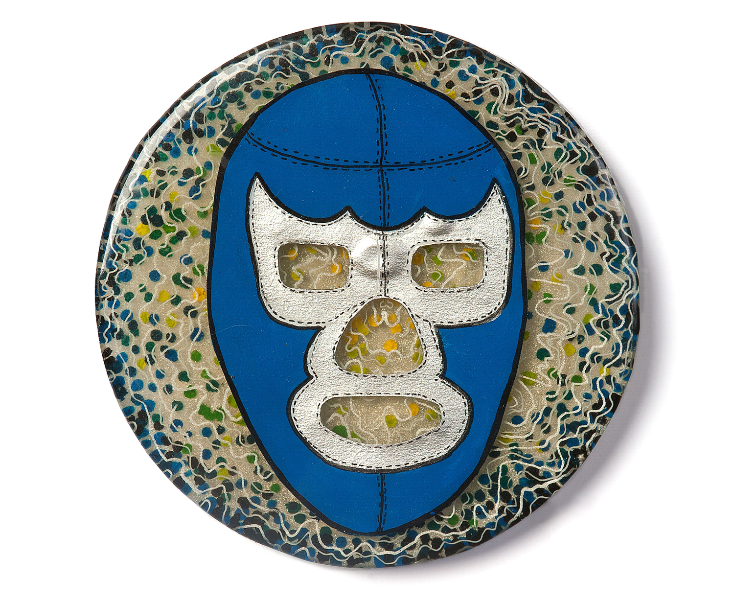 """Blue Demon  2010 Casting resin, acrylic paint, collage 5.625"""" x5.625"""" x .5"""""""