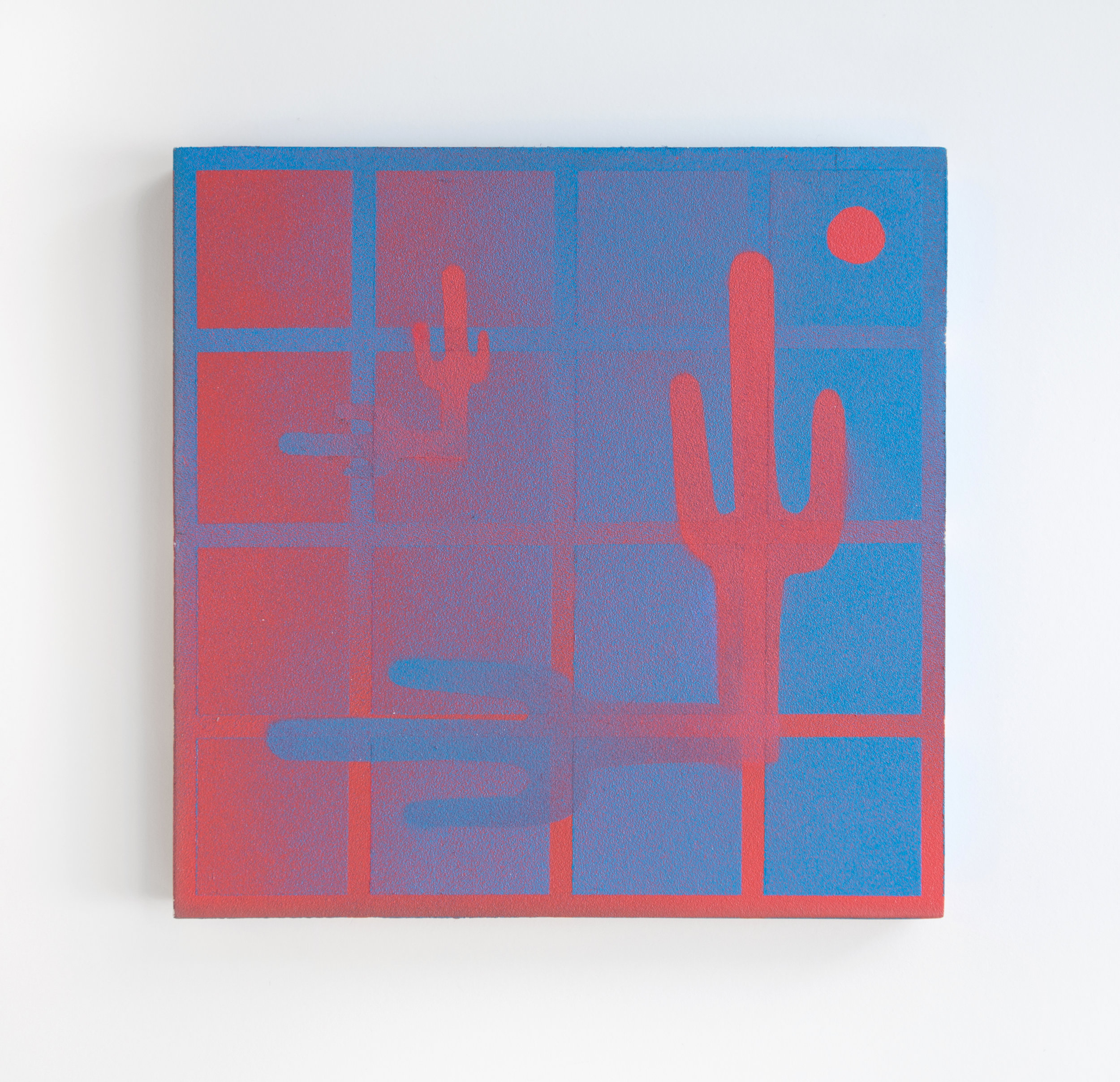 "Untitled 2016 Aerosol acrylic and sandpaper on panel 8"" x 8"""