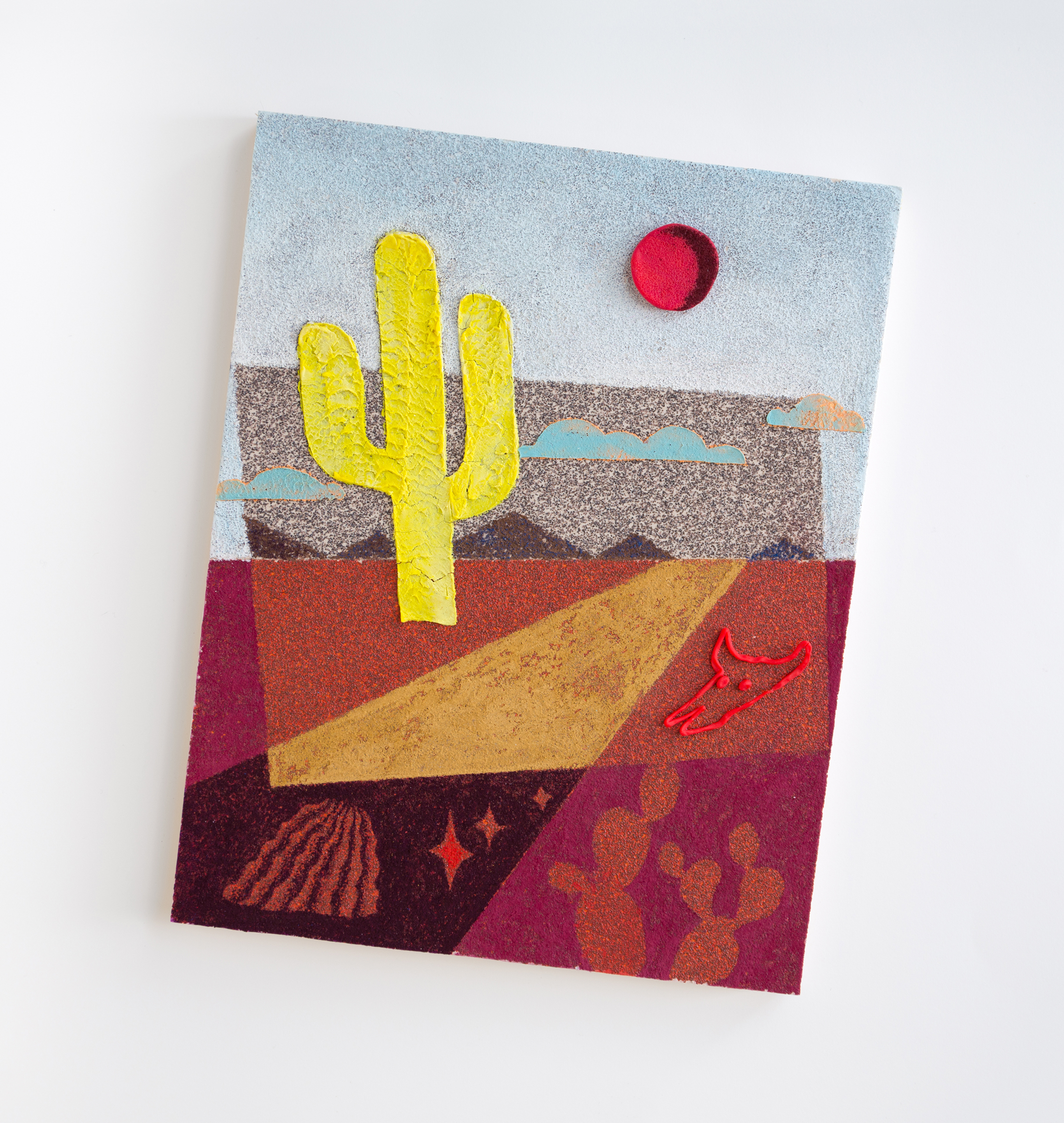 """Holbein the Range (where the deer and the antelope play)  2016 Sandpaper, colored pencil,and play-doh on panel 15 1/4"""" x 12 1/2"""" x 1/2"""""""