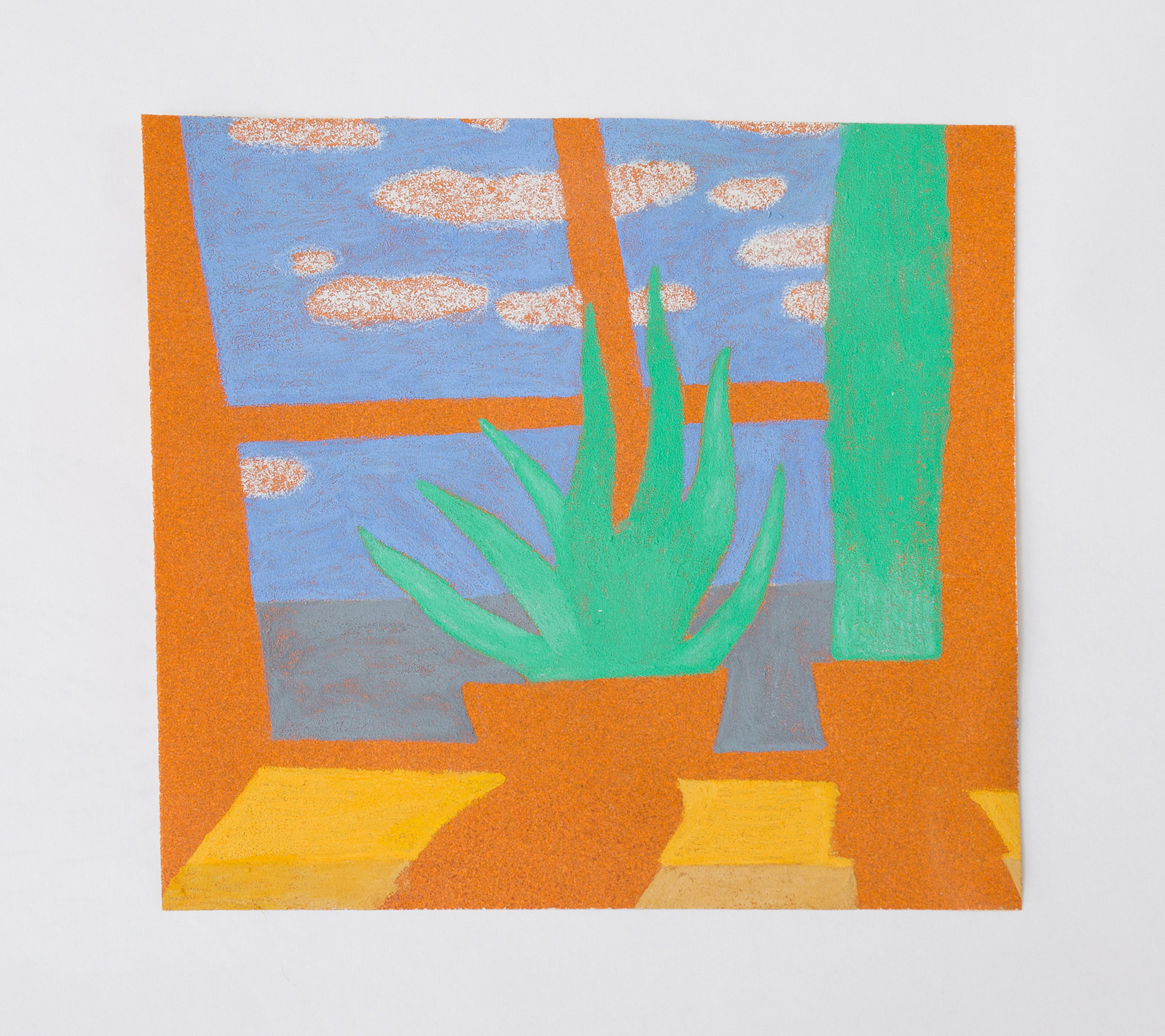 """Avery's Window  2016 Colored pencil and sandpaper on panel 7 3/4"""" x 8""""x 1/2"""""""