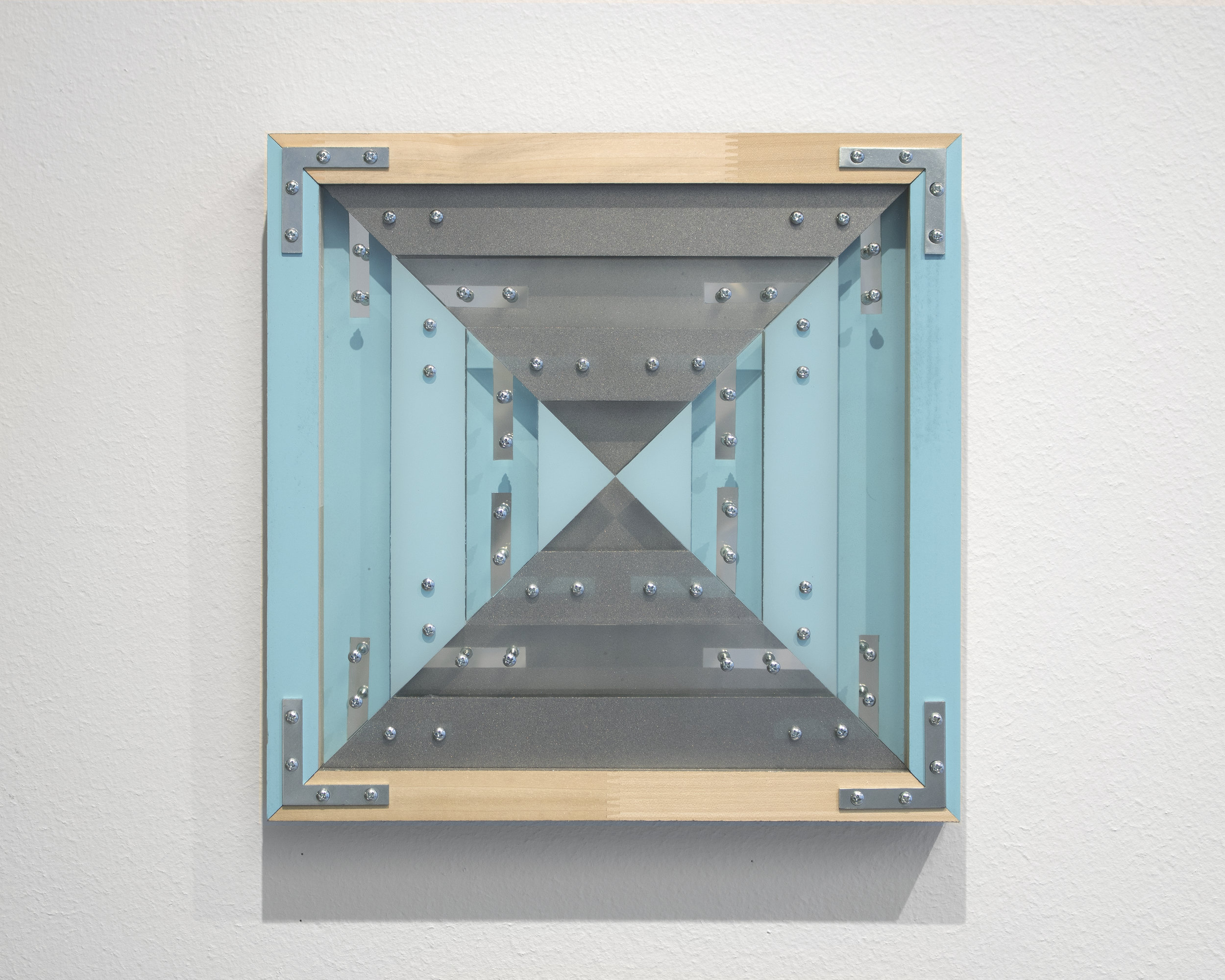 "(Untitled)  2018 Mirror, acrylic, spray enamel, wood screws, corner braces, finger jointed poplar 13.25"" x 13.25"""