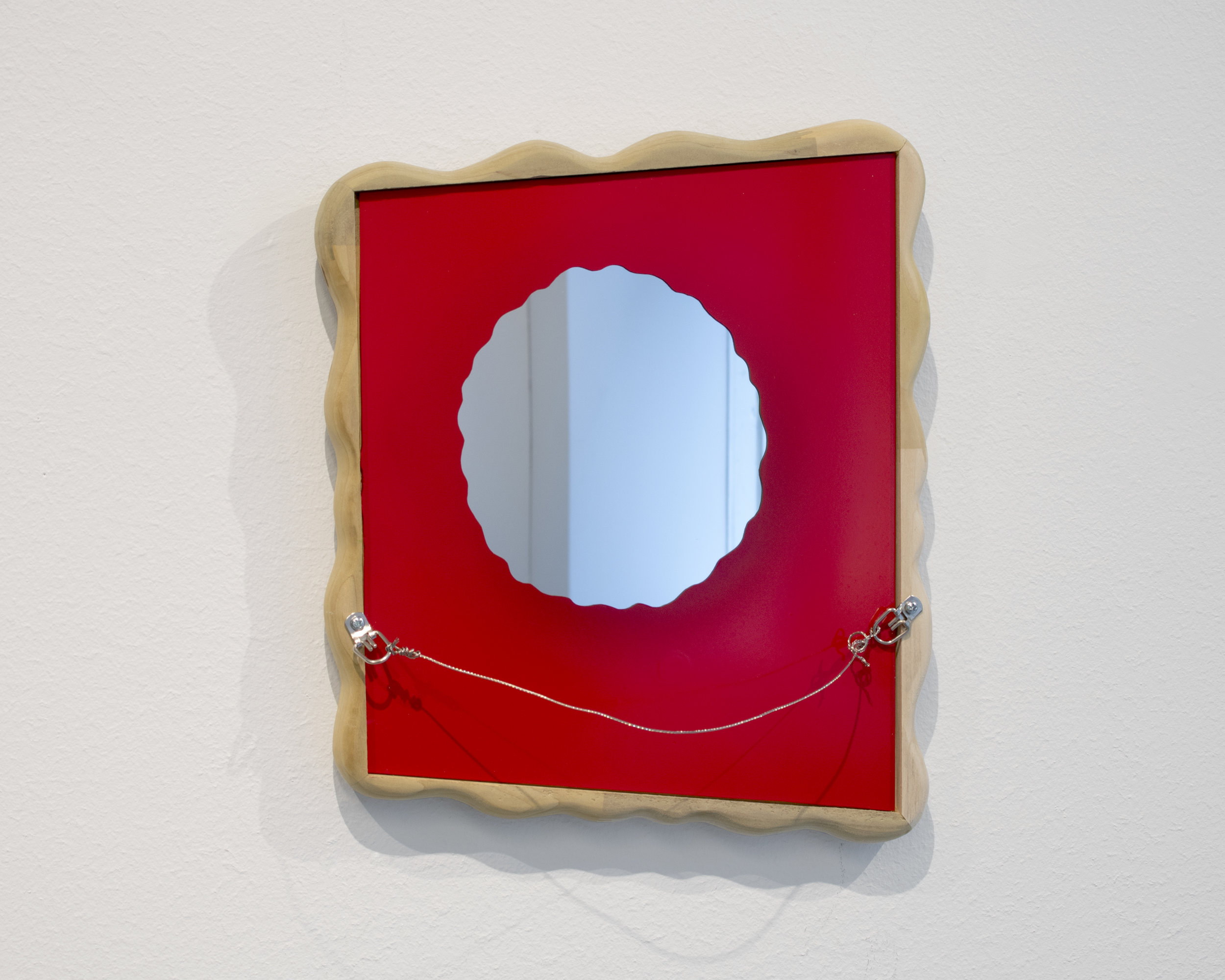 "(Untitled)  2018 Mirror, spray enamel, finger jointed poplar, d-rings, steel hanging cable 14.25"" x 12.25"""