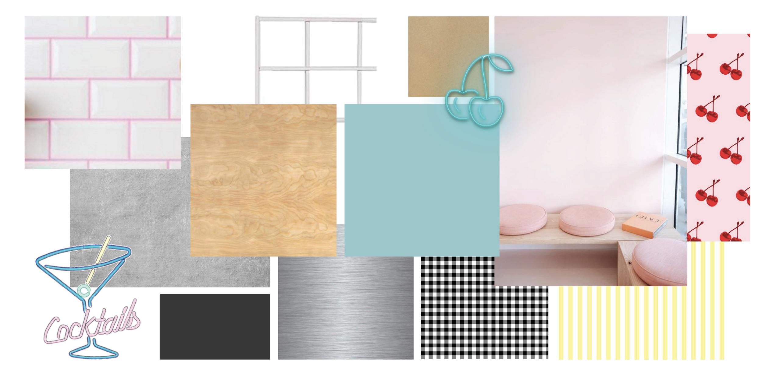 Moodboard for schematic interior design