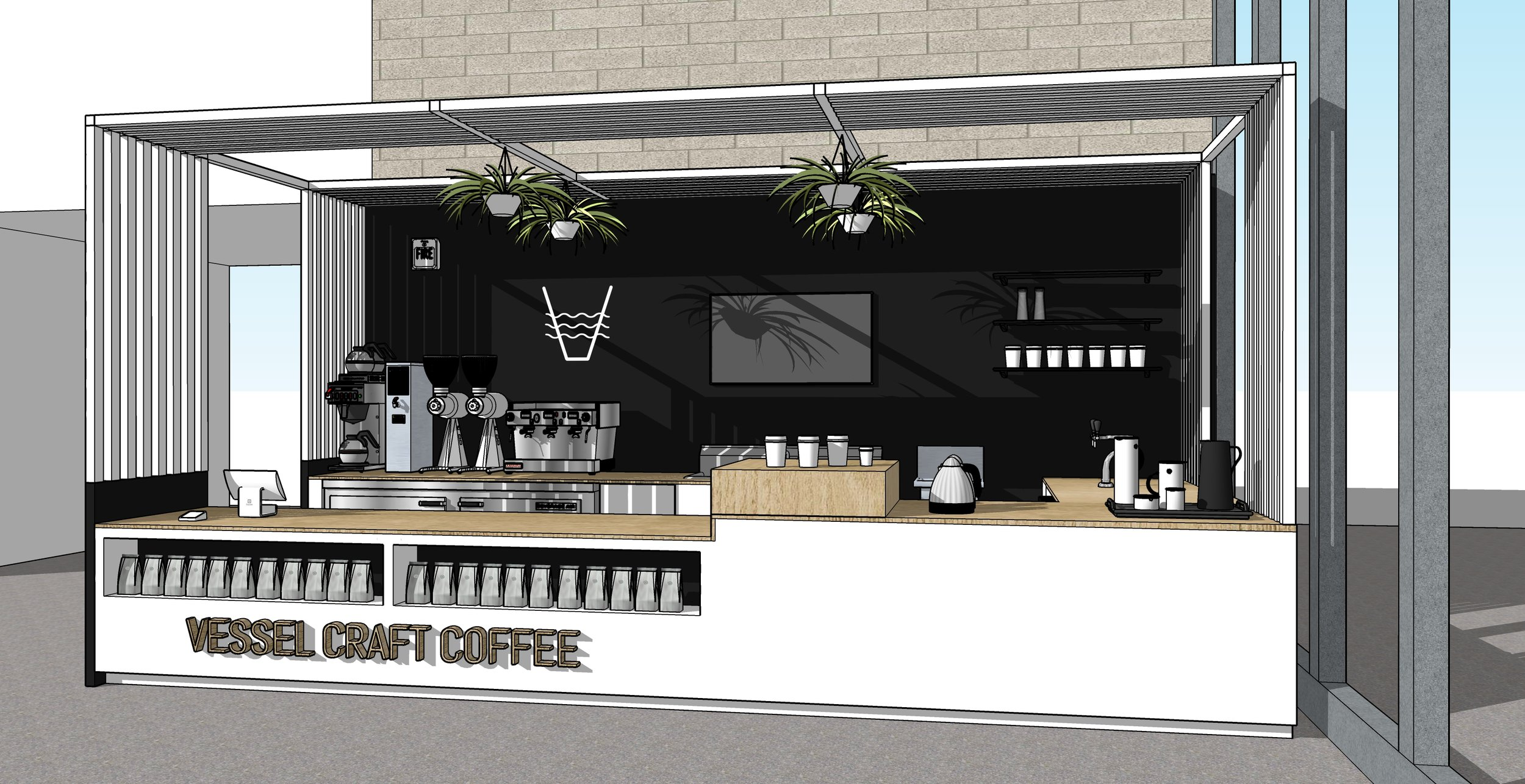 Conceptual interior design for Vessel Craft Coffee's Norfolk City Hall location © 2018