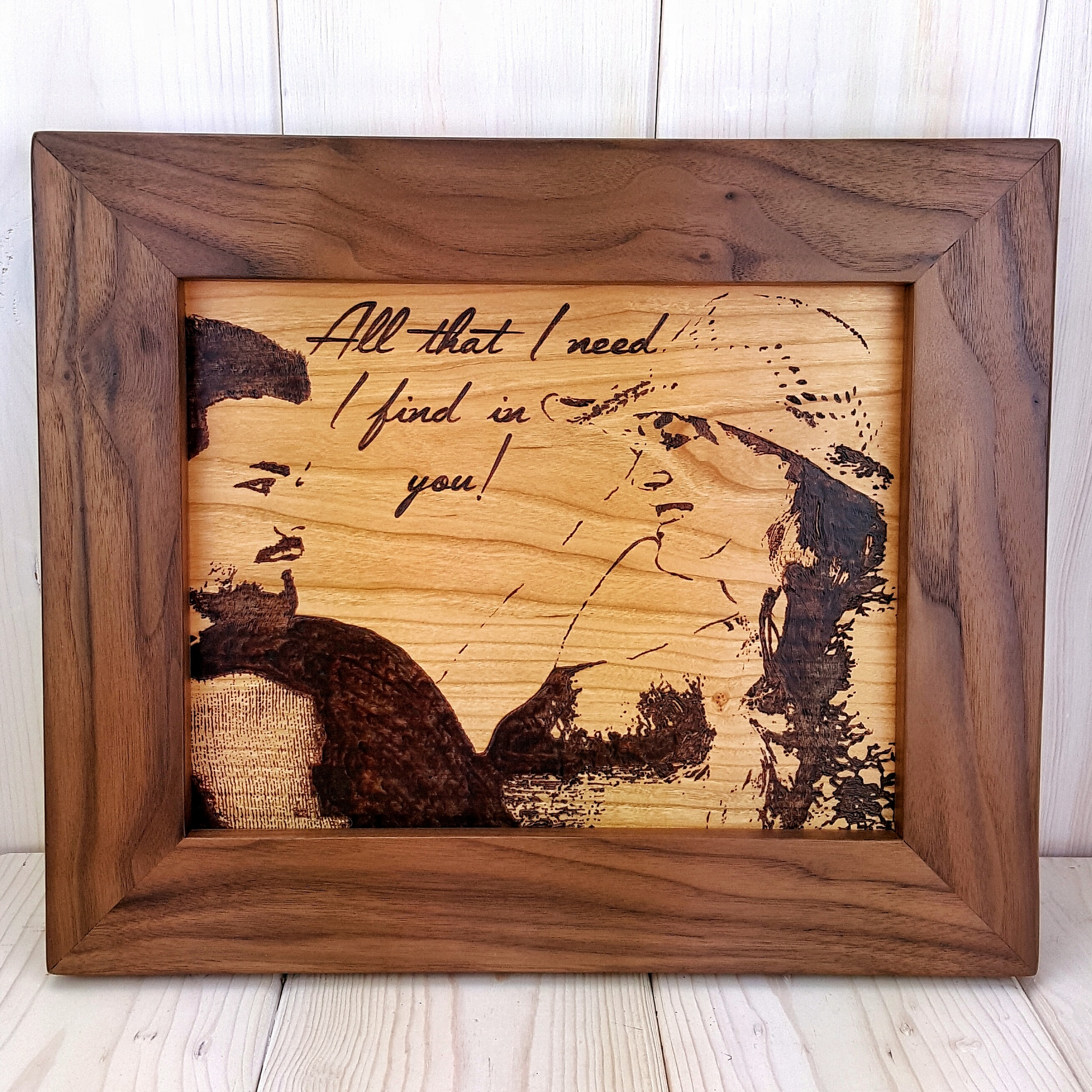 Custom Woodburned Photo with Walnut Frame