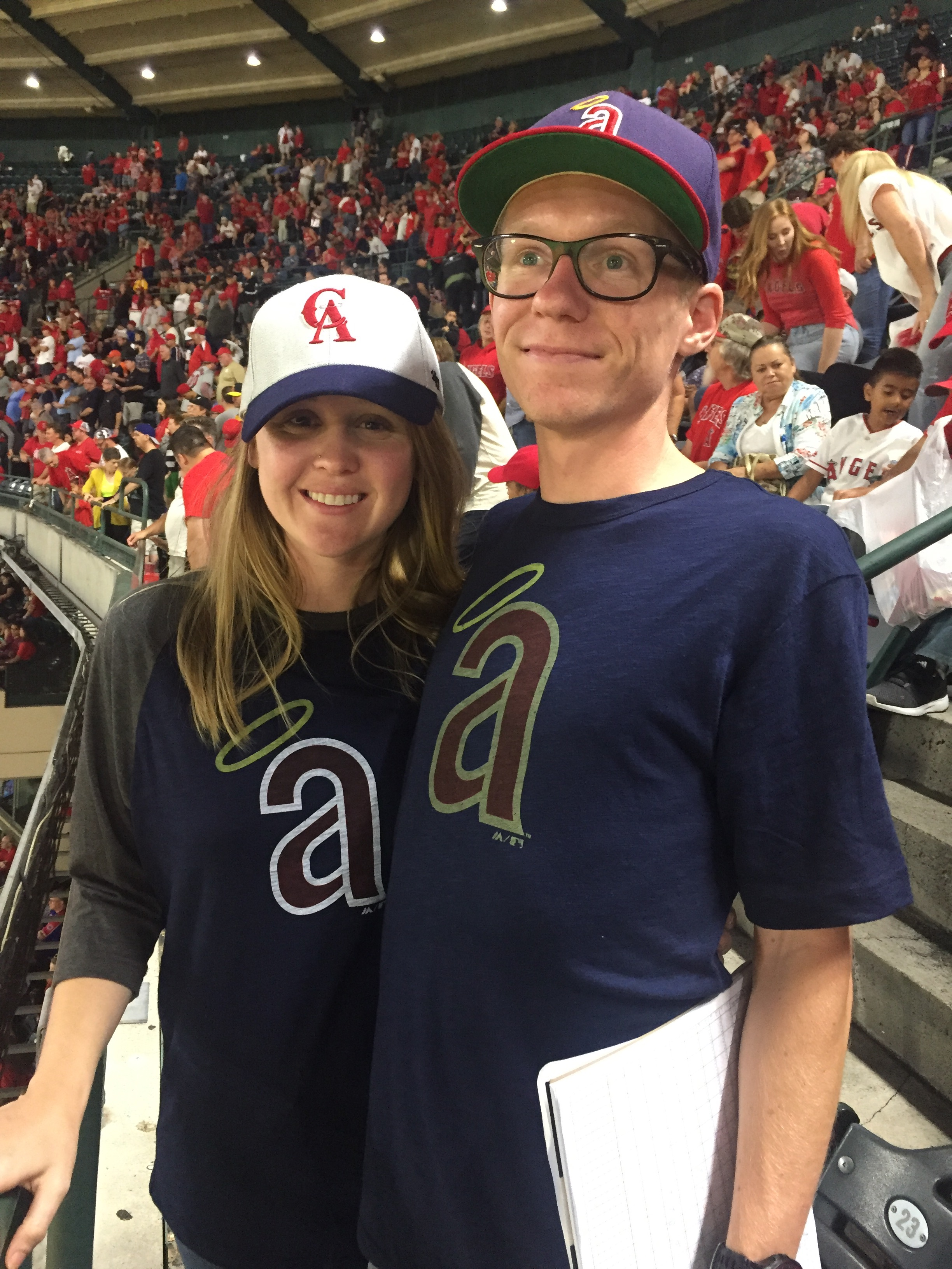 samantha and her husband, thomas, at an angels game