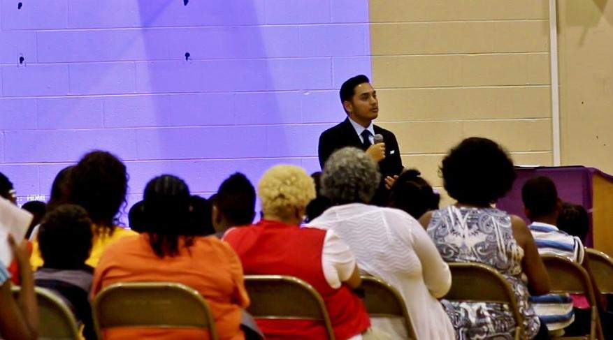 Speaking at MLK Academy in Benton Harbor, MI
