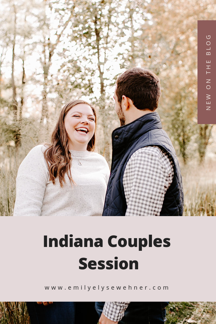 Browse the blog of this Indiana Couples session for posing ideas and outfit inspiration for minimal and neutral color tones in the woods with Jackie and Adam at 100 Acre Woods Photography by Emily Elyse Wehner, Indiana photographer. #photography #couplessession #indianaphotographer