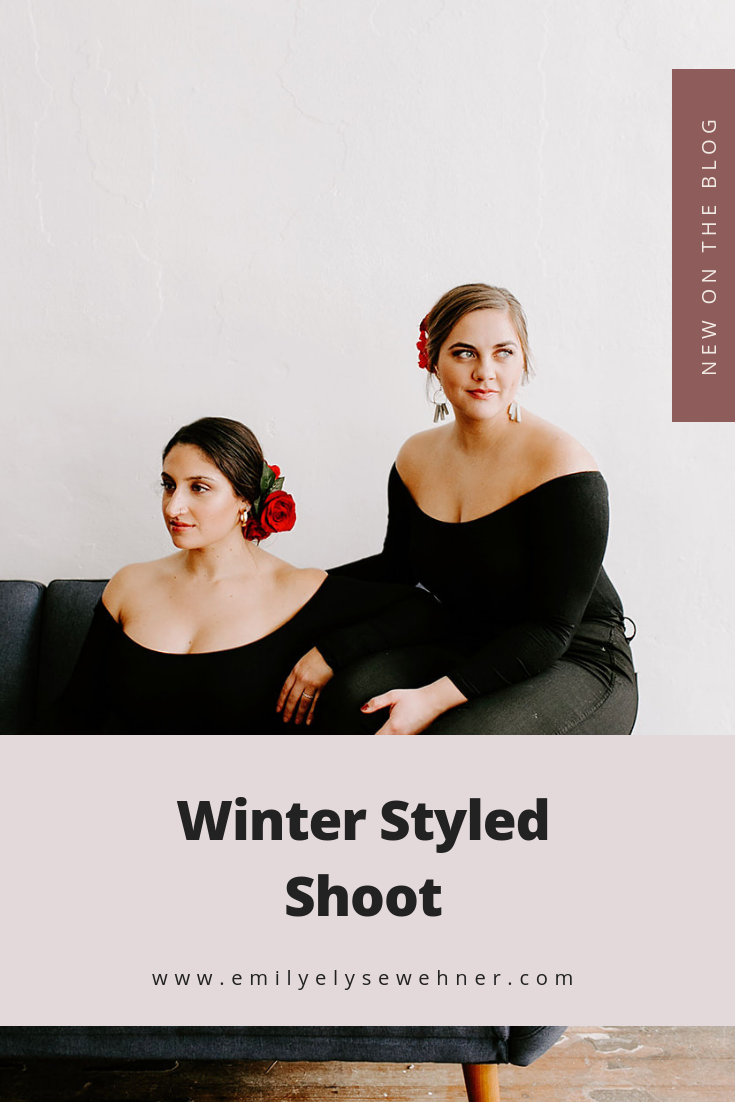 This dreamy Winter Styled Shoot with Lexi Dawn Hair in Indianapolis, Indiana was held in an indoor studio and was an artistic, moody and minimalist style | Emily Elyse Wehner Photography #photographyportraits #styledshoot