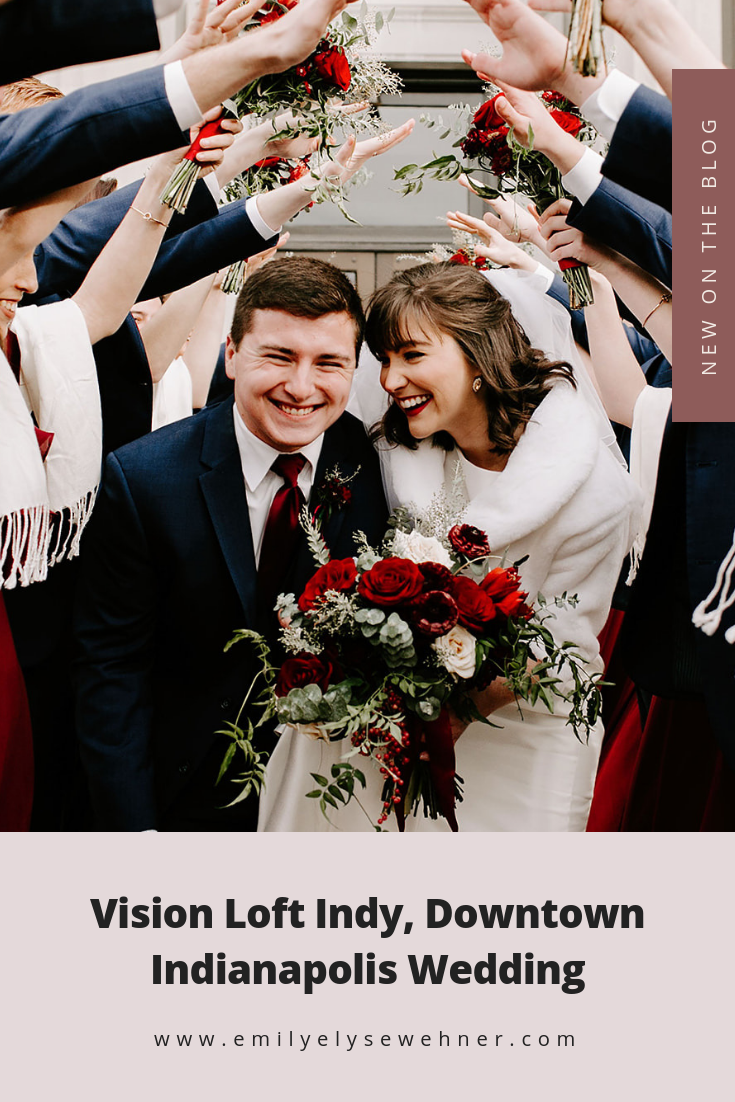 Vision Loft Indy, Downtown Indianapolis Wedding with red and white tones by Emily Elyse Wehner photography