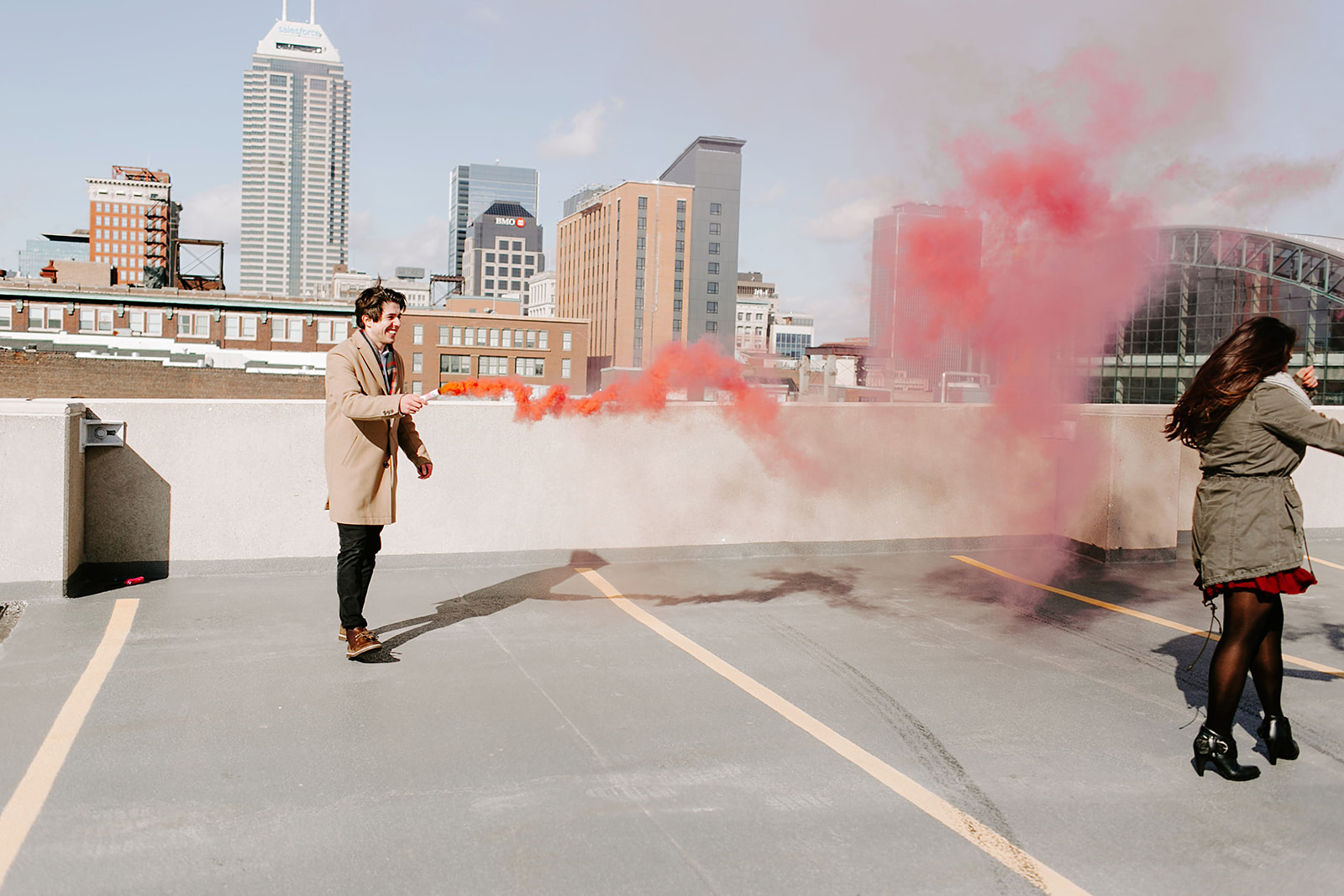 Downtown Indianapolis Rooftop Gender Reveal
