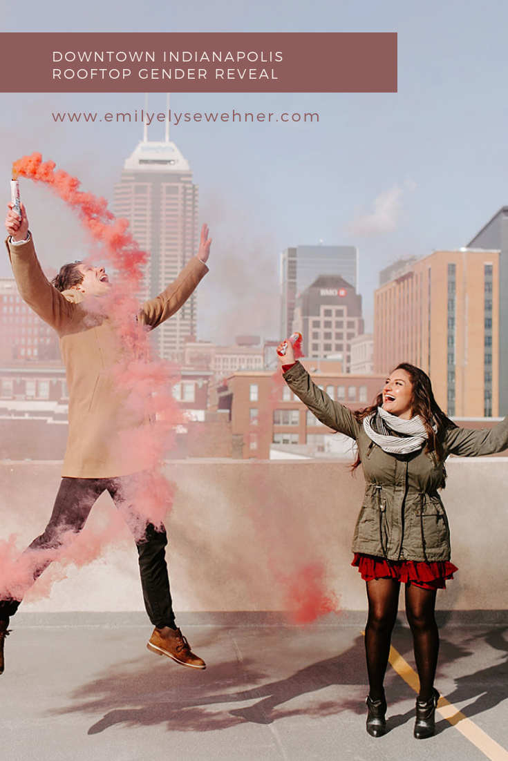 Browse to see this blog of Danielle and Craig's Downtown Indianapolis Rooftop Gender Reveal by Emily Elyse Wehner Photography | Gender reveal ideas, girl gender reveal, gender reveal photography