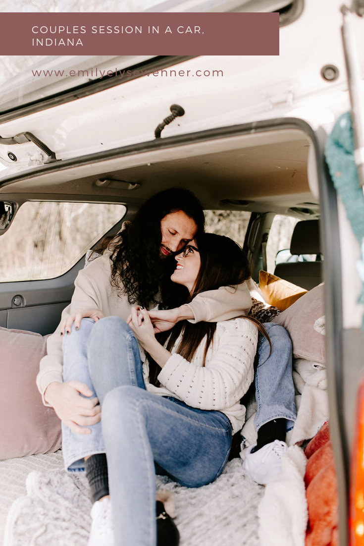 Browse the blog of this styled couples session in the back of a car in Indiana | Posing inspiration for couples session, outfit ideas for couples session, location ideas for couples session in Indiana | Emily Wehner Photography
