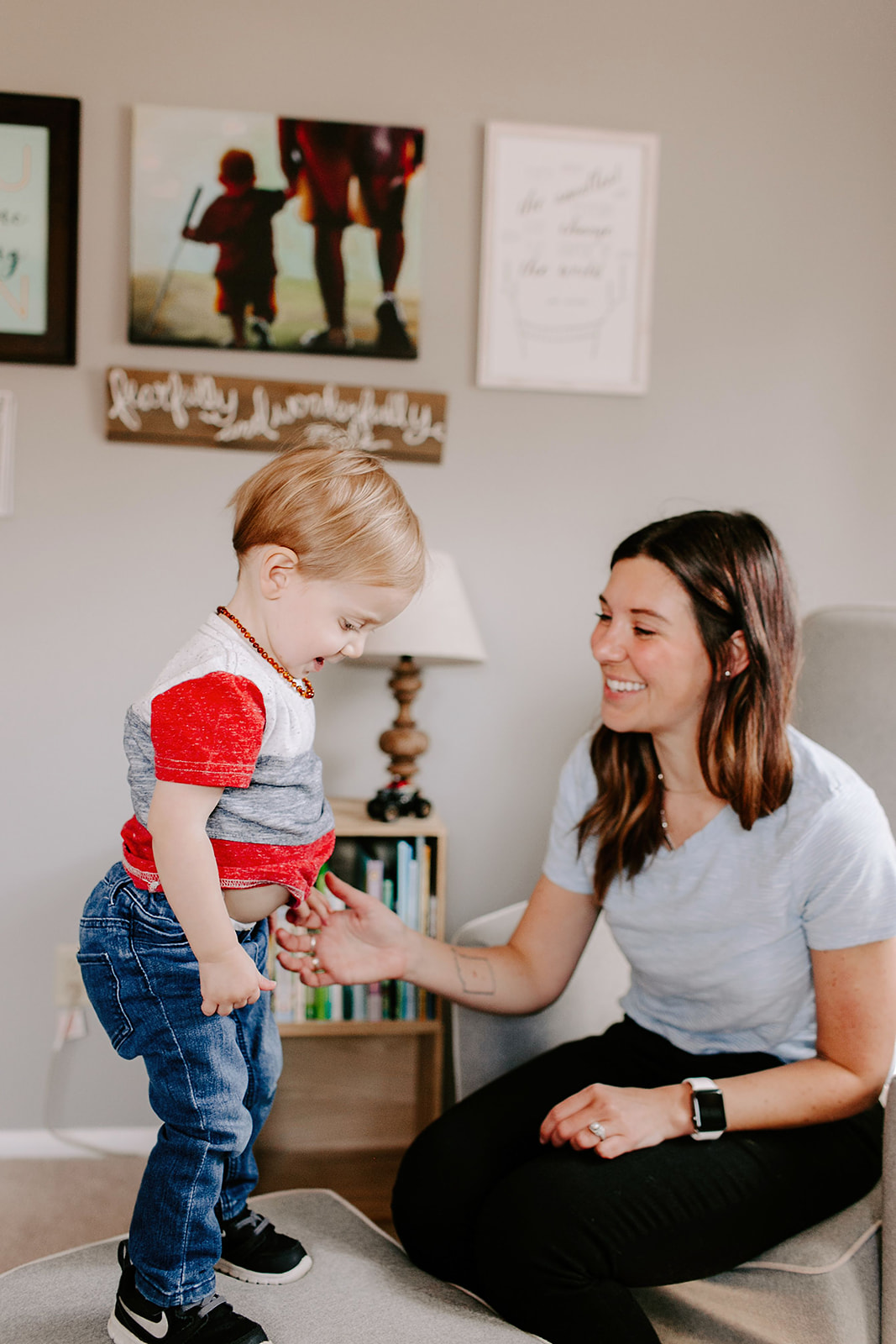 In-home family session with a mom and son in Indianapolis, Indiana with Emily Elyse Photography