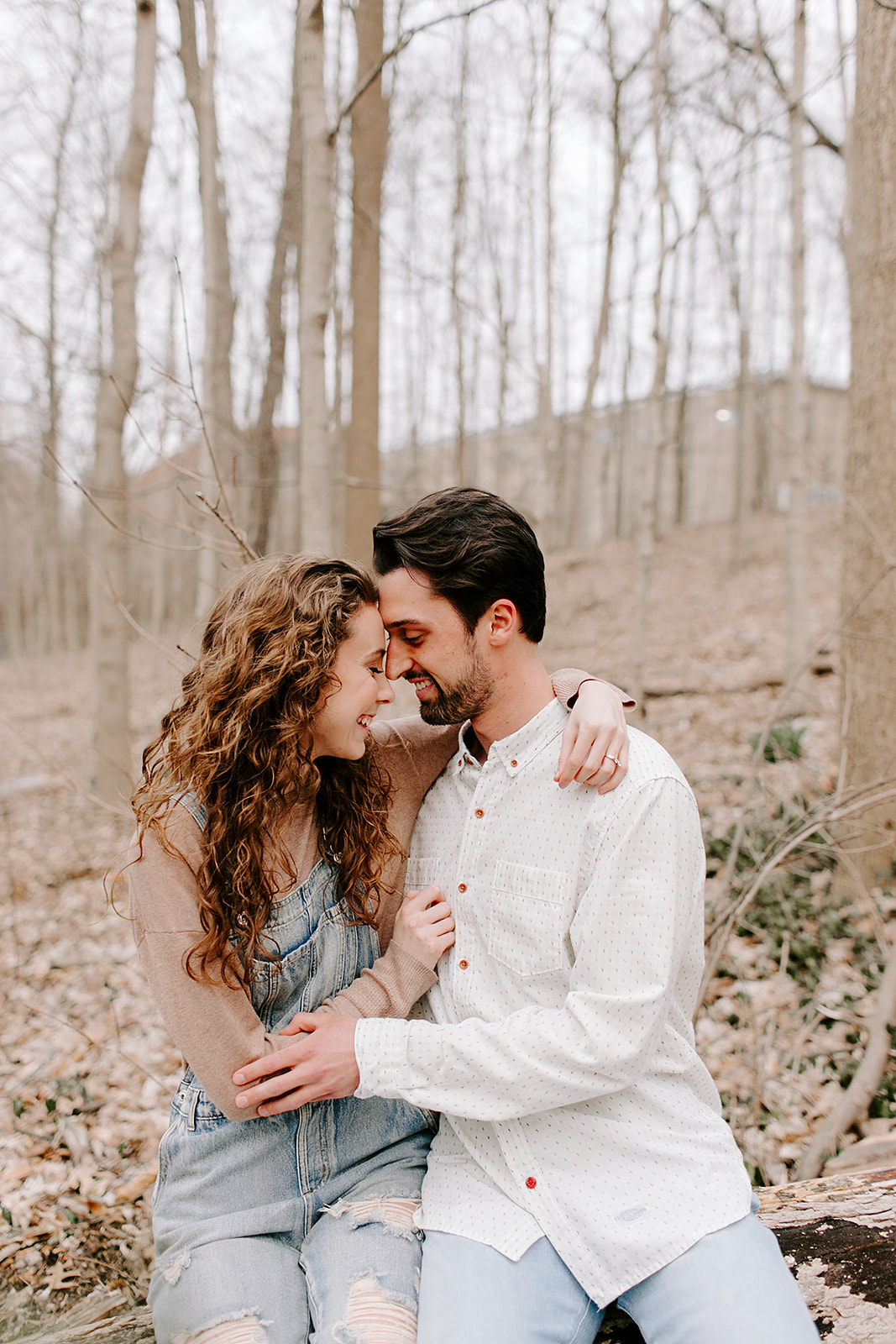outdoor engagement photos at Holcomb Gardens Butler University Indianapolis