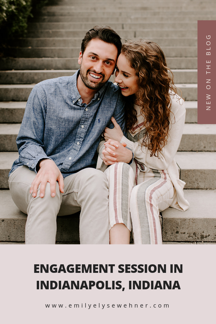 Click to browse these outdoor engagement photos with Hannah and Brock at Holcomb Gardens Butler University Indianapolis Indiana | Posing inspiration and outfit inspiration for engagement sessions | Emily Elyse Wehner Photography