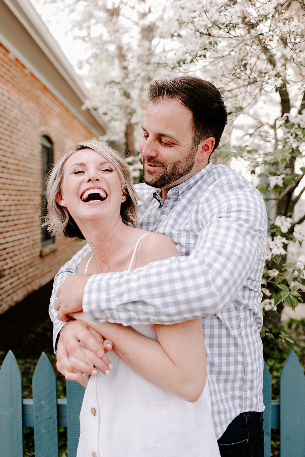 Posing inspiration for outdoor engagement session in Zionsville