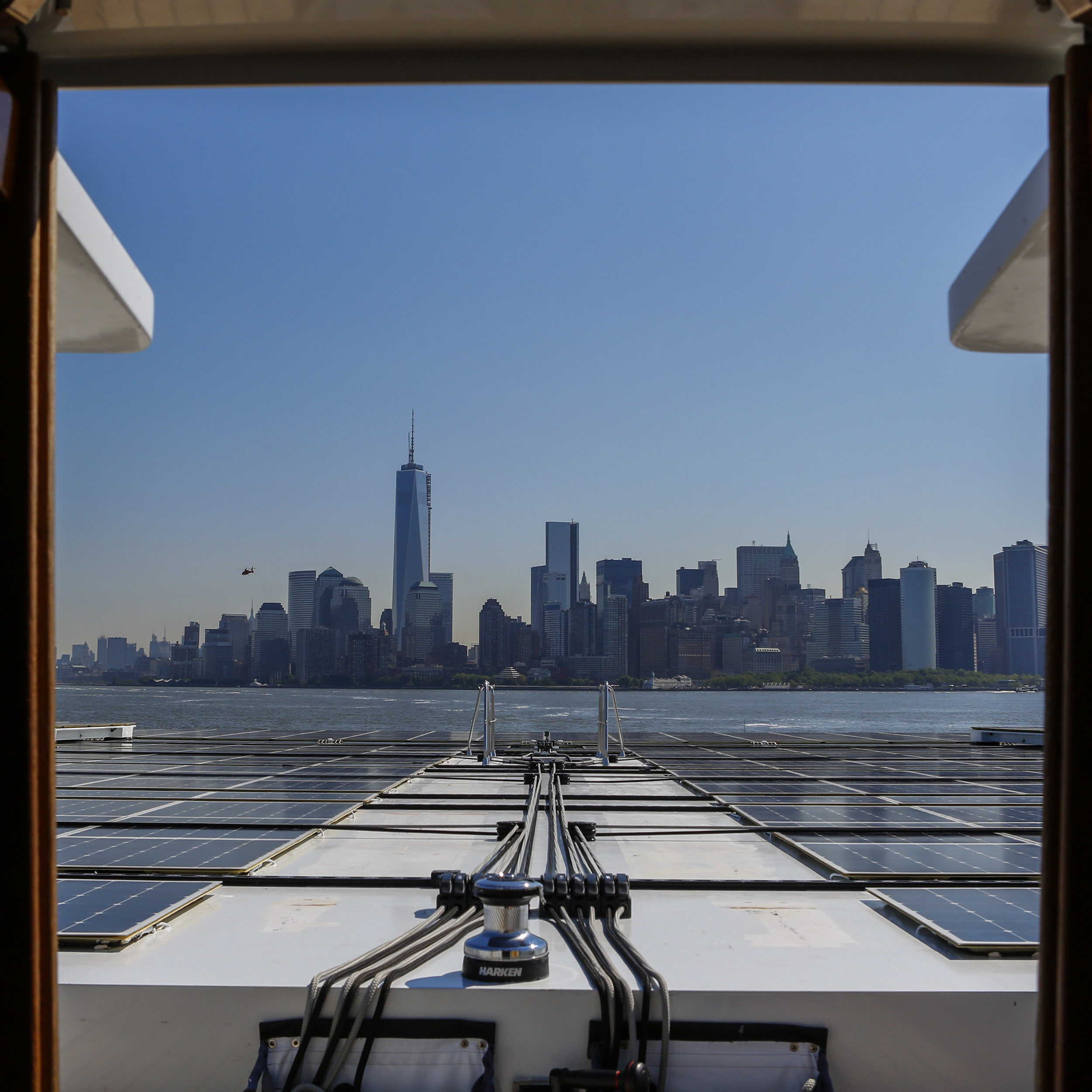 Manhattan skyline from the world's largest solar boat, a catamaran named Tûranor on Thursday, June 20, 2013.