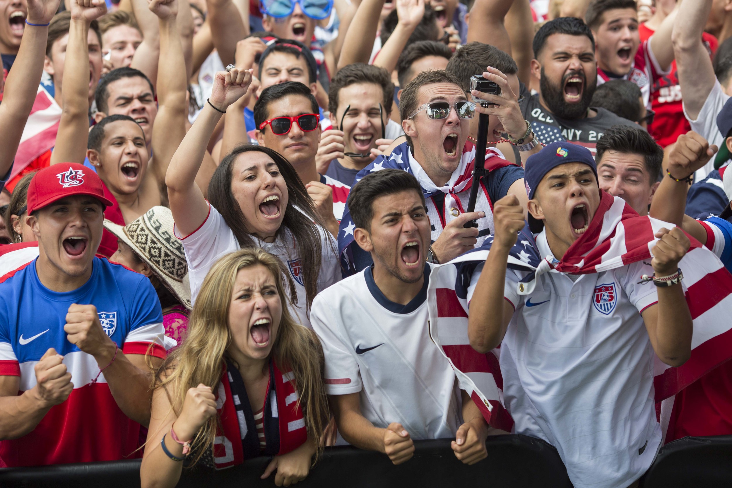 USA fans react as the US scores during overtime as the US soccer team takes on Belgium in the World Cup at a viewing party at Redondo Beach Pier in Los Angeles on Tuesday July 01, 2014. Belgium won 2-1 in overtime.