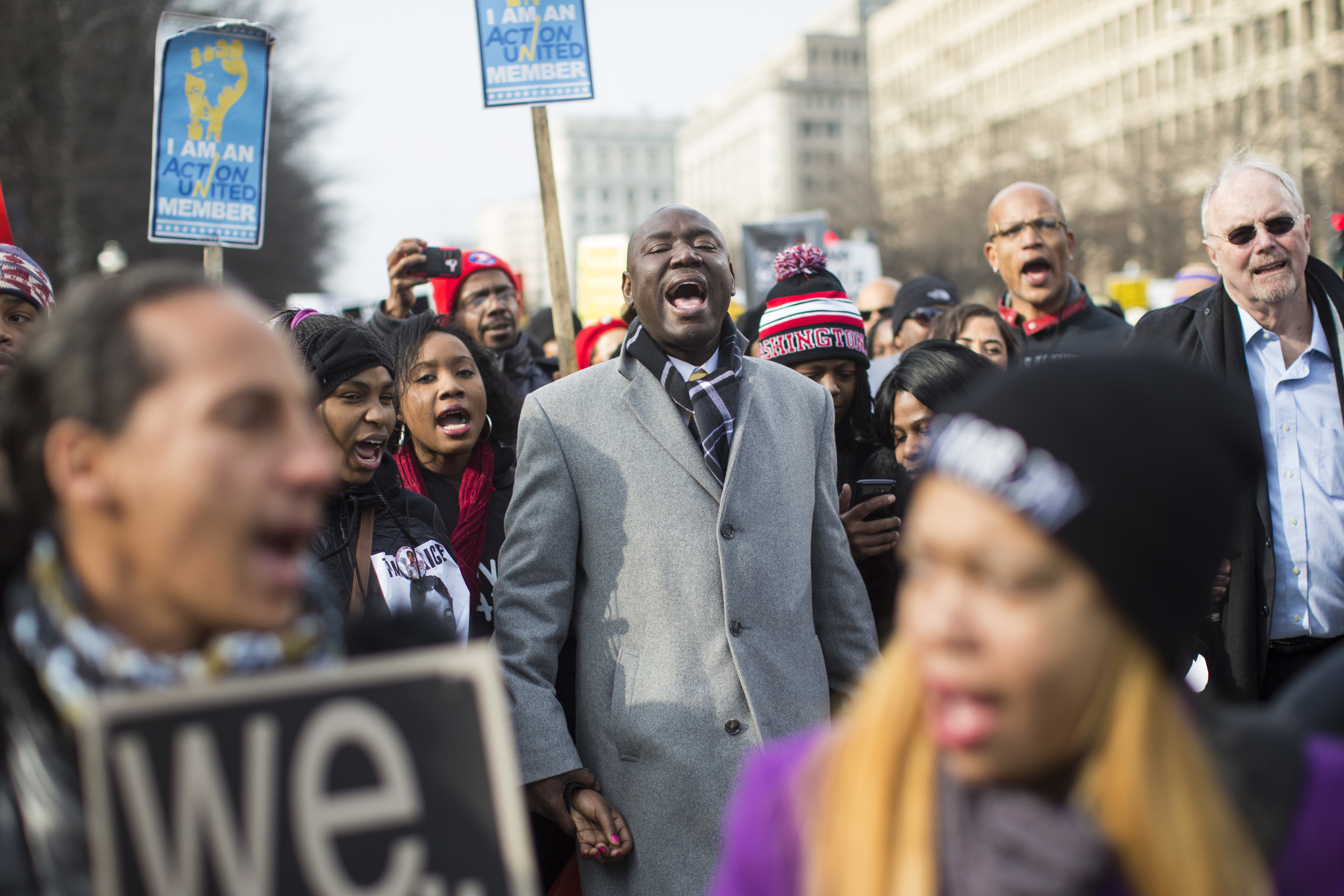 Demonstrators march toward Capitol Hill during the Justice for All march and rally where more than than 10,000 protesters marched in an effort to bring attention to the deaths of unarmed black men at the hands of police in Washington, DC on Saturday December 13, 2014.