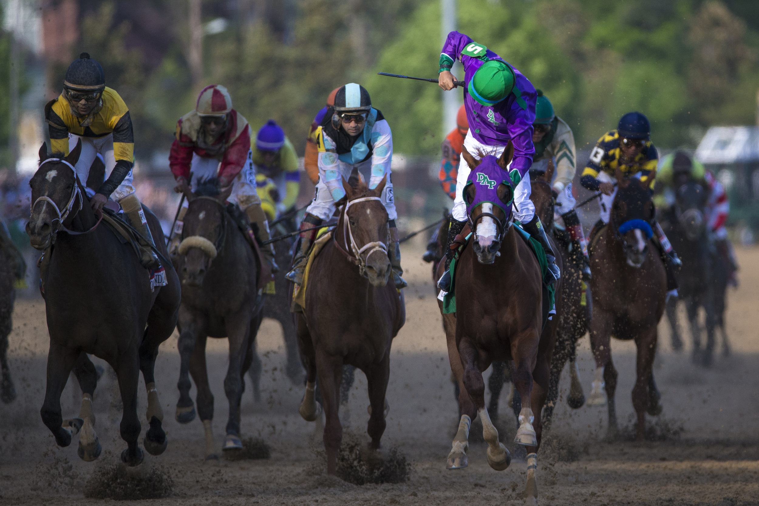 California Chrome wins during the 140th Kentucky Derby at Churchill Downs in Louisville, Ky. on Saturday May 03, 2014.