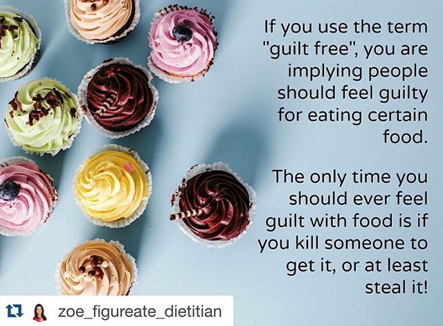 "#Repost @zoe_figureate_dietitian with @repostapp. ・・・ If we continue to associate guilt with food, we fuel our culture's diet mentality that food is either ""good"" or ""bad"", ""healthy"" or ""unhealthy"". Nutrition is rarely, if ever, this black and white.  When people are caught up in a diet mentality, they can experience emotional distress such as anxiety, guilt and disgust with food and their bodies. This emotional distress is not conducive to managing one's health and often results in decreased physical and mental health.  Let's stop using terms such as #guiltfree  Other terms that can be equally damaging and that I urge people to stop using with respect to food are:  #eatclean and #cleaneating #cheatday  Zoe @moderationmovement  #nourish #eatwell #healthyeating #healthnotdiets #healthnotweight #haes #nondiet #nondietapproach #bodyimage #bodypositive #dietitianfornutrition #dietitiansofinstagram #moderationmovement #figureate"