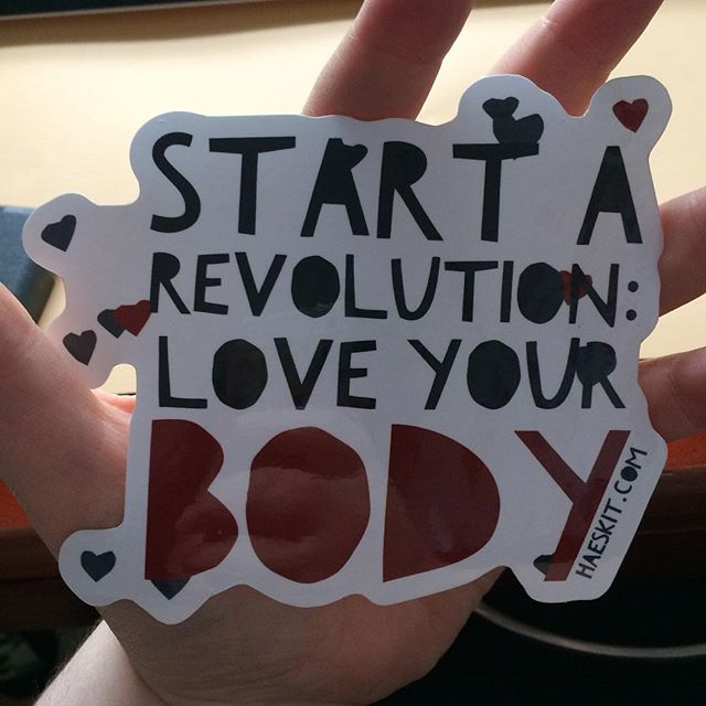 Giant stickers! Perfect for bumper stickers or anywhere else. Almost all my restocking is done and the store will be open any day now!!#loveyourbody #stickerapp