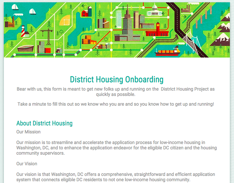 Screenshot of our new onboarding form for new members