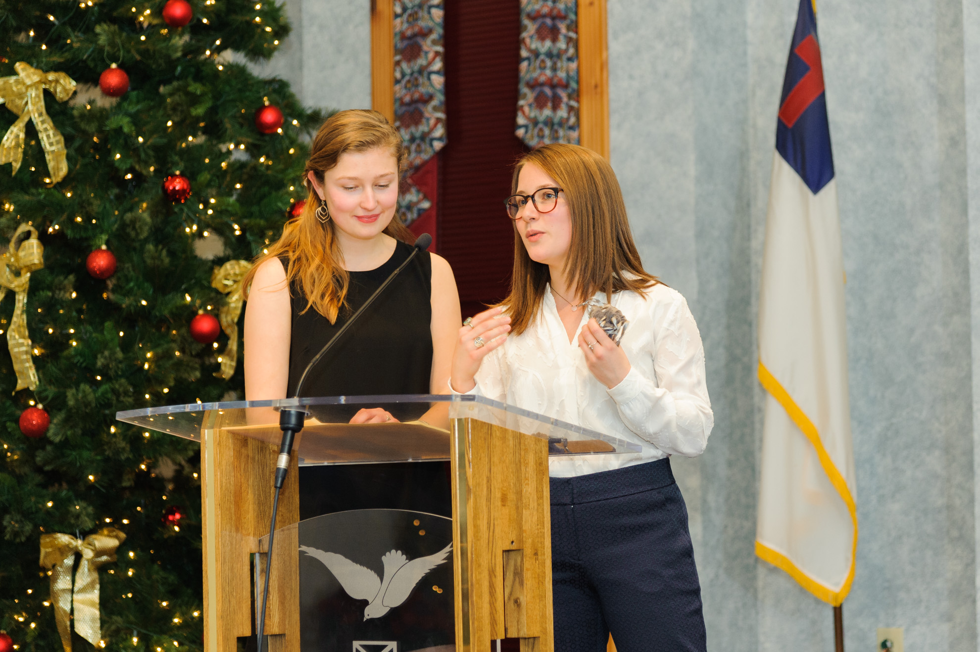 Sophie and Ali as emcees of the 2016 Community Social & Fundraiser held December 22nd at the Red Hook Community Center