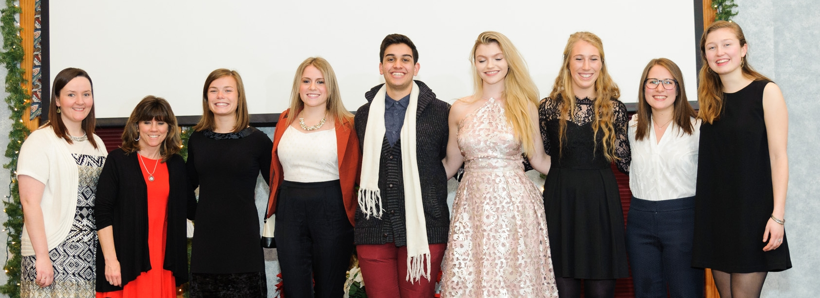 Outgoing Director Corinne Hermans, Barbara; 2017 Ambassadors Brita, Gianna, Karim, Jonni, and Lauren; Directors Ali and Sophie at the 2016 Social