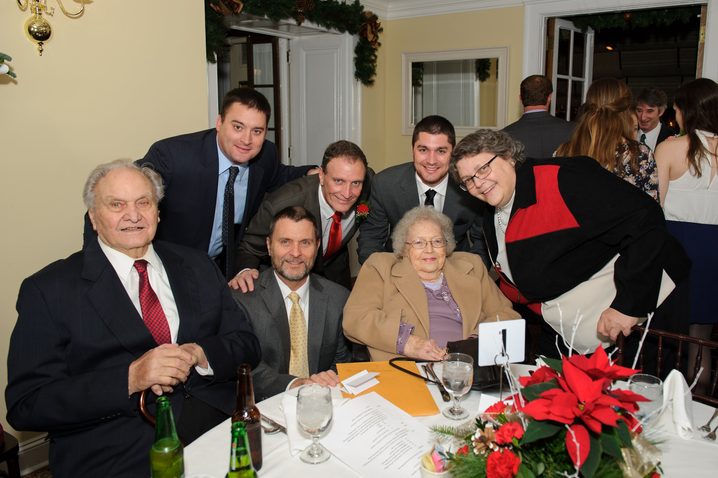 The Ascienzo Family at the Ascienzo Family Foundation's Inaugural Winter Event (2016).   Standing: Nick's nephew Chris, Nick, nephew Andrew, and sister Terri (former AFF director)  Sitting: Nick's dad, brother John, and mom, who passed away in 2016.