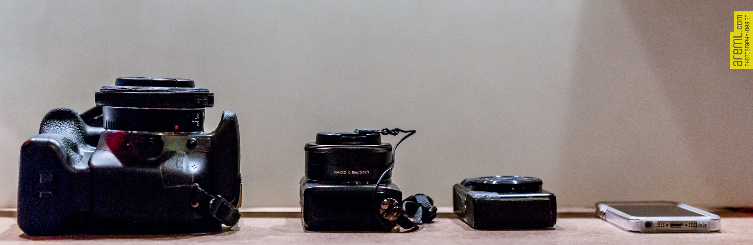 Canon EOS T2i with 40mm pancake, EOS M w 22mm, Canon Powershot s90 and my iPhone 5
