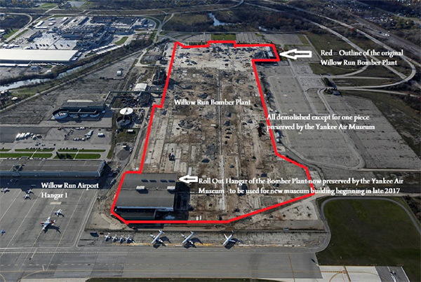 Diagram showing original size of the Willow Run Bomber Plant, and the portion saved to be the future NEW home of the Yankee Air Museum.