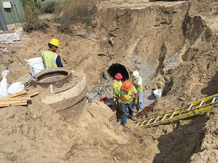 Bulkheading the existing storm sewer