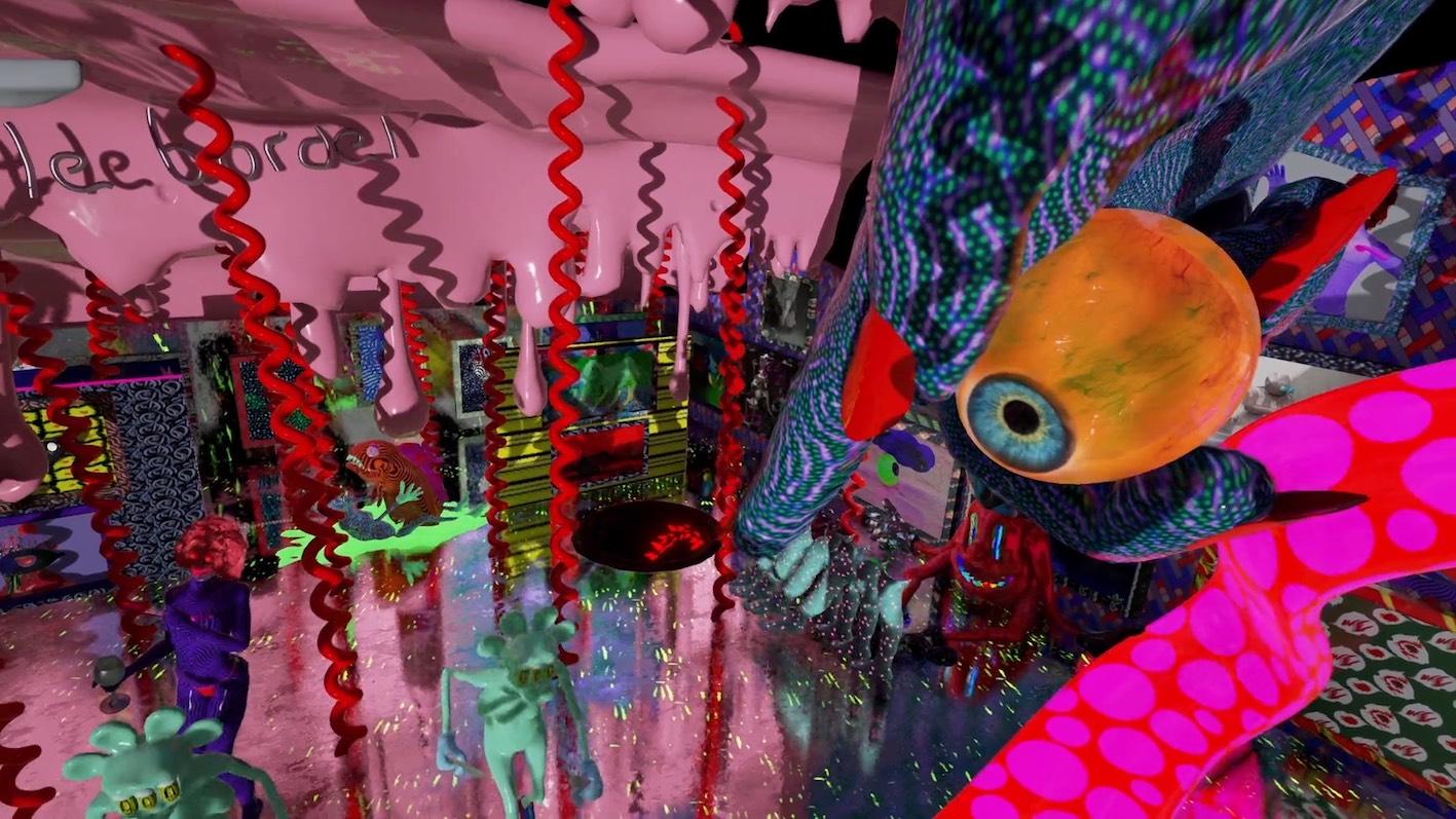 Geoffrey Lillemon (FR) The Nail Polish Inferno @ La Vilette, Virtual Reality Retrospective Strip Club Nightmare set in Bubblegum Hell, 2016, artistic VR experience