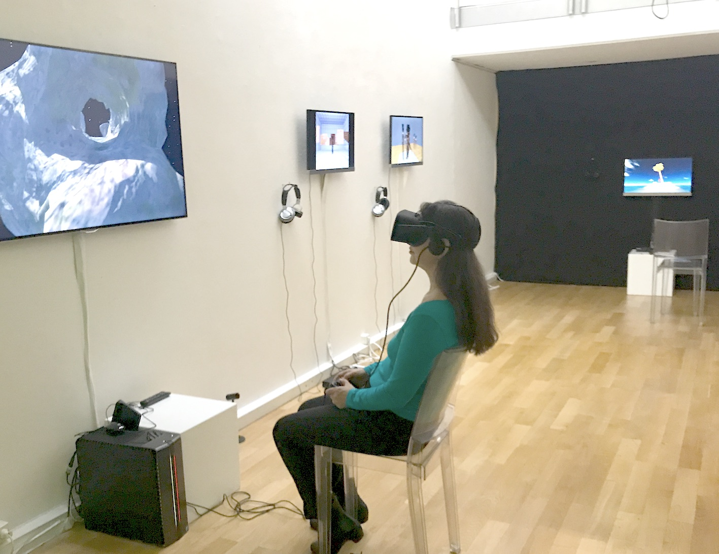 Exhibition view RESET III AND VIRTUAL REALITY, photo by Nathan Ishar / Artworks: DiMoDA and videos by Gazira Babeli and Patrick Lichty