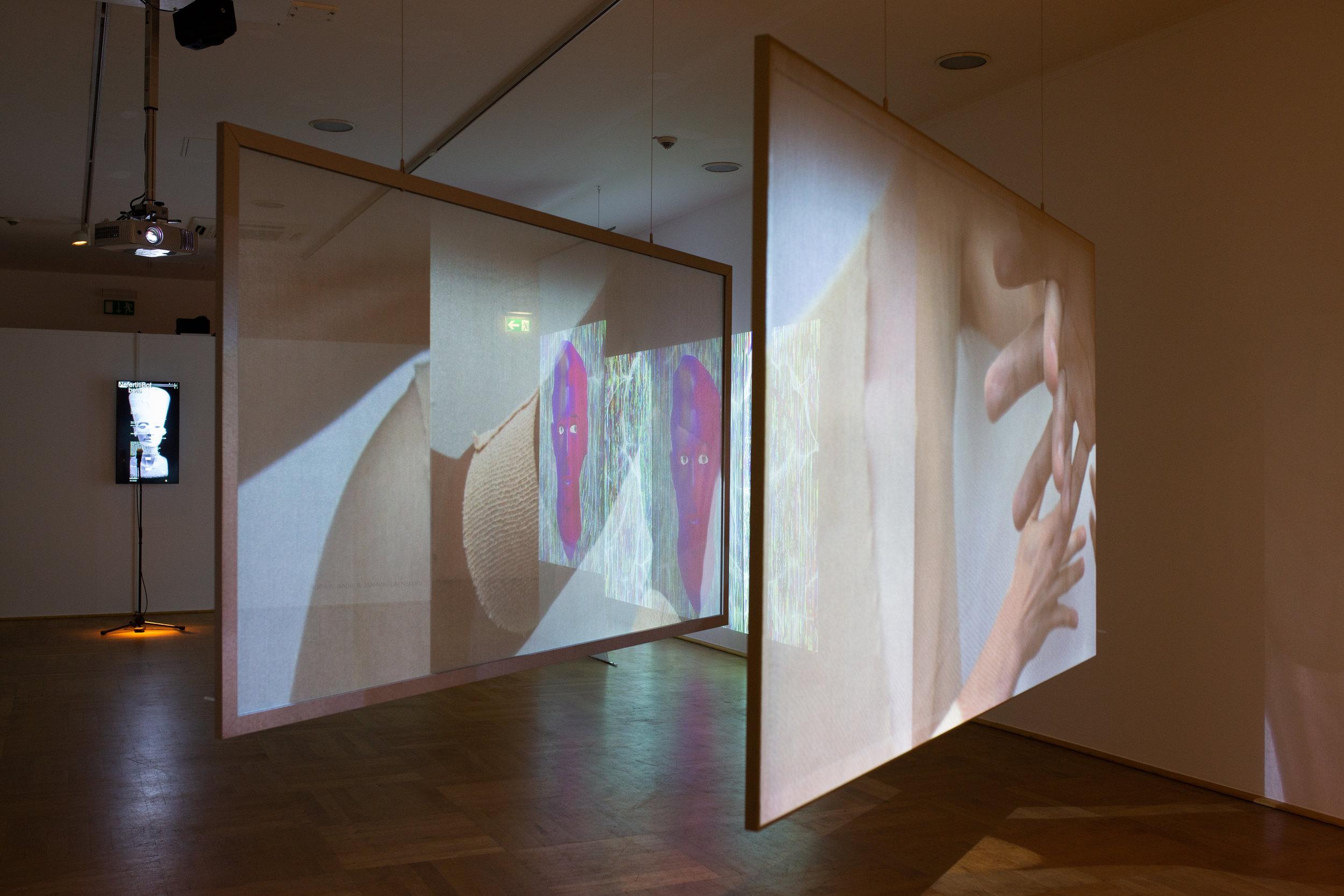 Exhibition view with works by Tuomas A. Laitinen, Nora Al-Badri & Jan-Nikolai Nelles, Jonas Blume, photo © NRW-Forum Düsseldorf / Bozica Babic