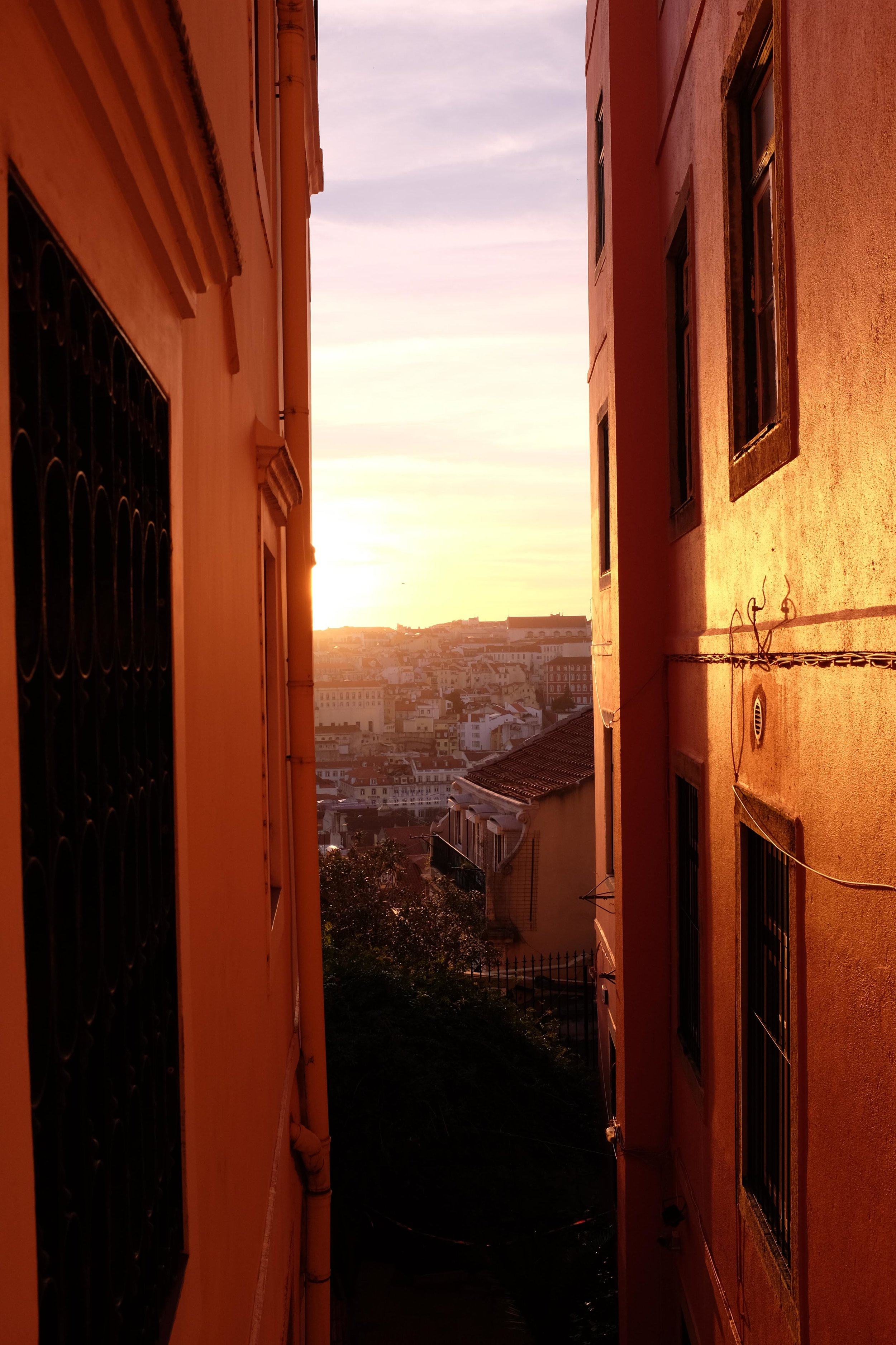 lisbon-portugal-sunset-view-between-buildings