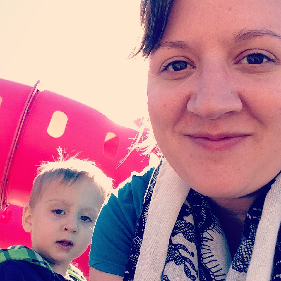 No makeup, tired me, letting my kids play an extra 15 minutes at the park before nap. Oh, and Eli has something all around his mouth that I didn't clean off. Love.