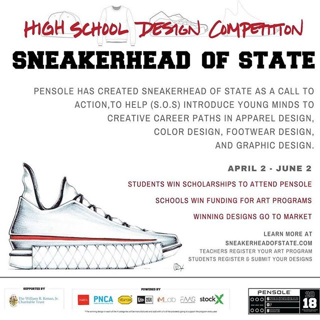 "Know of any young talent that can benefit from this amazing experience??? Repost from @pensole_academy ................................... ""Proud to announce our new PENSOLE HIGH SCHOOL program Funded by The William R. Kenan, Jr. Charitable Trust.  SNEAKERHEAD OF STATE(S.O.S) is a call to action to help introduce young minds to future careers that they may not even know existed.  PLEASE share this with any young mind you think maybe or should be interested in a new future.  Thx"""