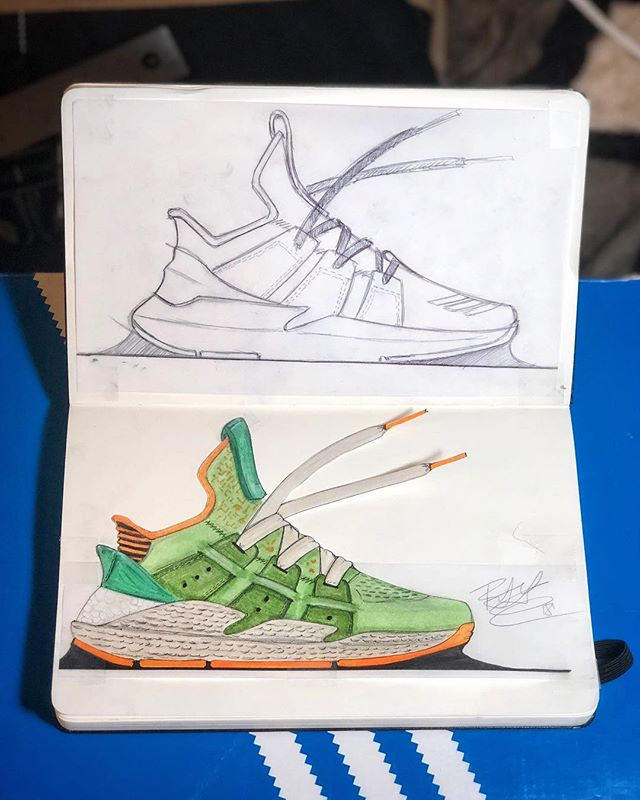 Exploration of PROPHERE to cap the night. A fun tweak to the eye-straps 🙃🤨😏 and a small addition of boost to the midsole of the shoe. Feels good to start a new sketch book..... #pensoleacademy #3stripestyle #3stripedesign #allin #ritid #Idsa #industrialdesign #lacelessdesign #rippedlaces #ckinspiration #conceptkicks